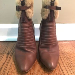 Manolo Blahnik Leather Shearling Ankle Boot